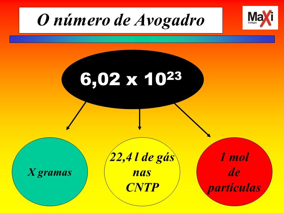 O número de Avogadro 6,02 x 1023 22,4 l de gás nas CNTP 1 mol de