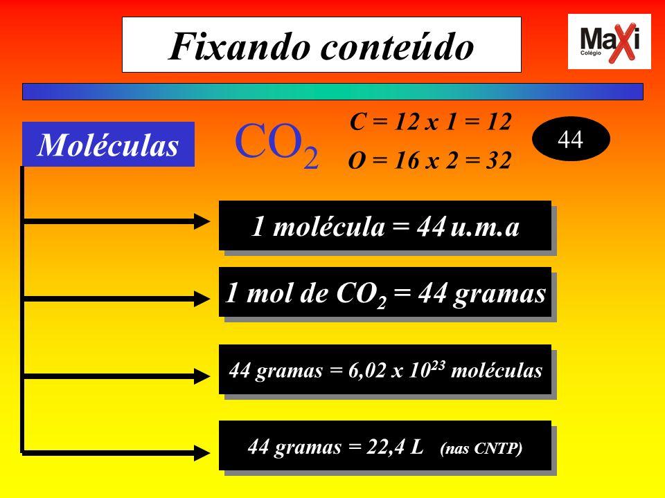 CO2 Fixando conteúdo Moléculas 1 molécula = 44 u.m.a