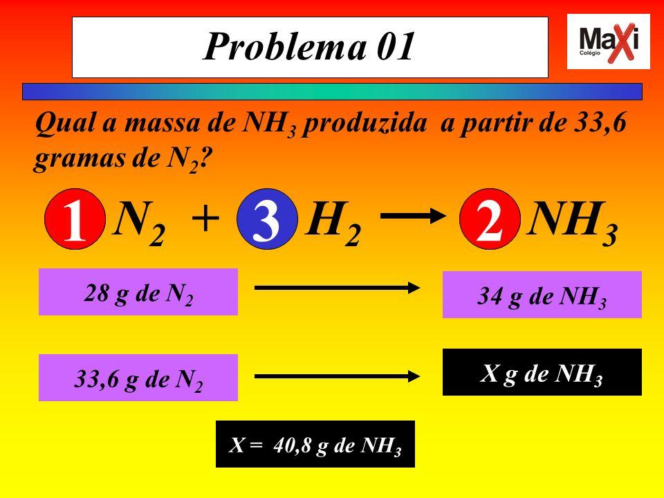 Problema 01 Qual a massa de NH3 produzida a partir de 33,6 gramas de N2 N2 + H2 NH3.