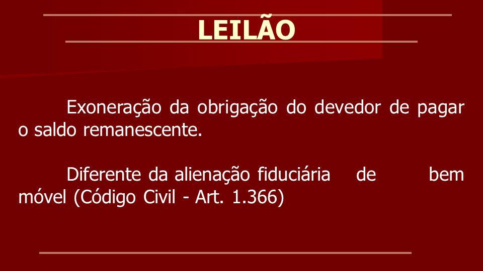 LEILÃOExoneração da obrigação do devedor de pagar o saldo remanescente.