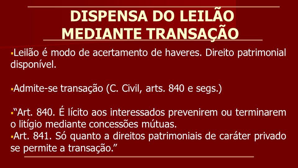 DISPENSA DO LEILÃO MEDIANTE TRANSAÇÃO