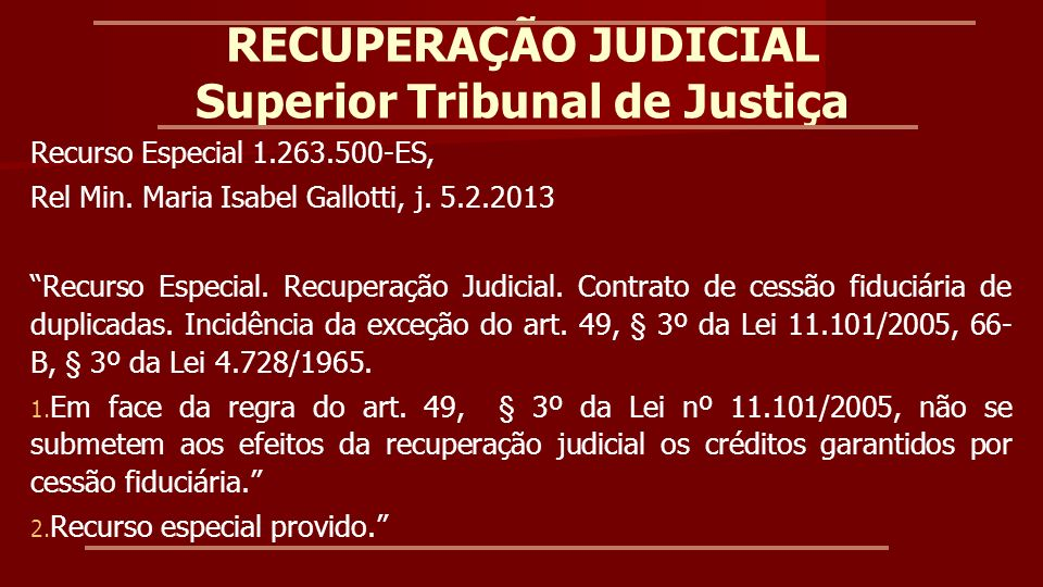 RECUPERAÇÃO JUDICIAL Superior Tribunal de Justiça