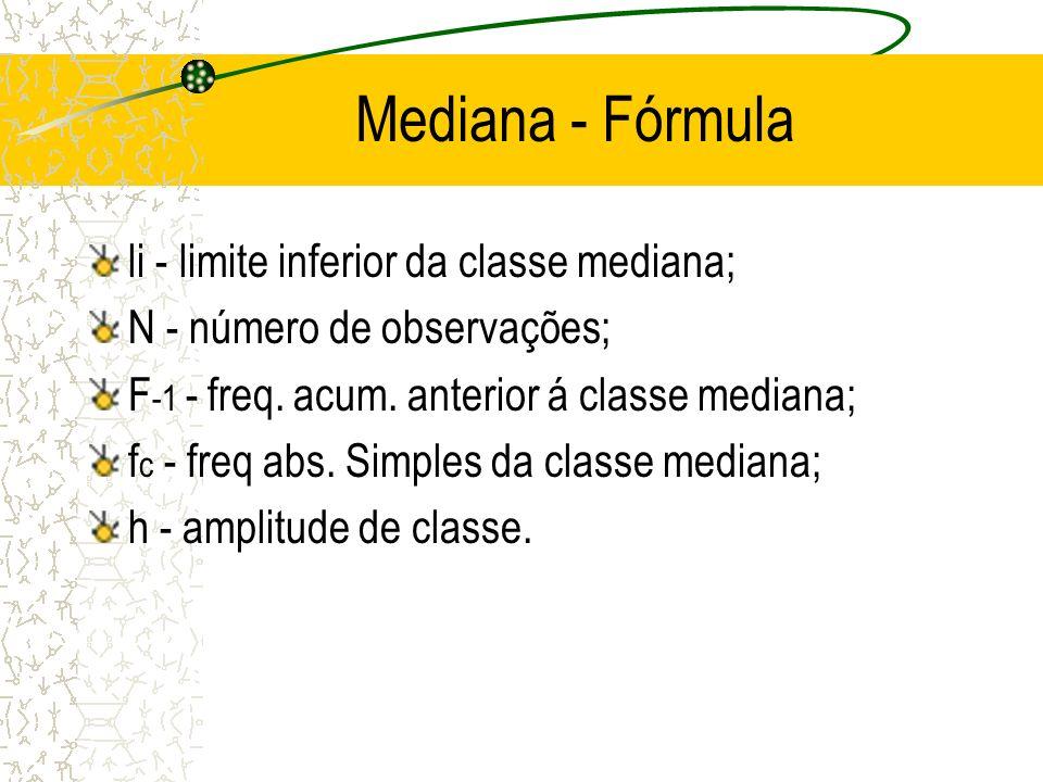 Mediana - Fórmula li - limite inferior da classe mediana;