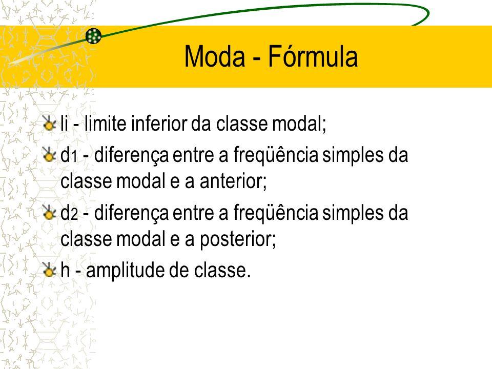 Moda - Fórmula li - limite inferior da classe modal;