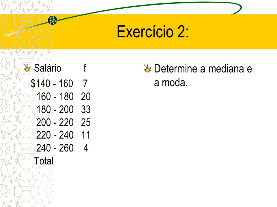 Exercício 2: Determine a mediana e a moda. Salário f