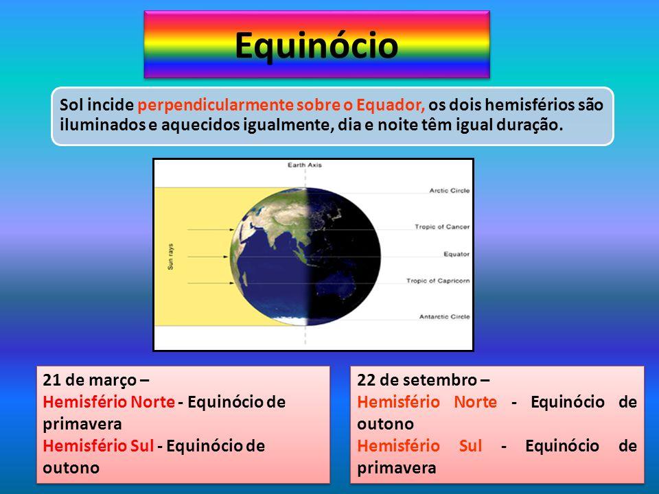 Equinócio 21 de março – Hemisfério Norte - Equinócio de primavera