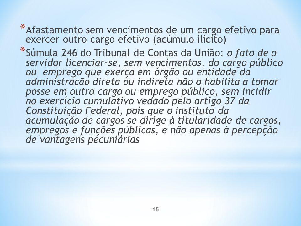 Afastamento sem vencimentos de um cargo efetivo para exercer outro cargo efetivo (acúmulo ilícito)