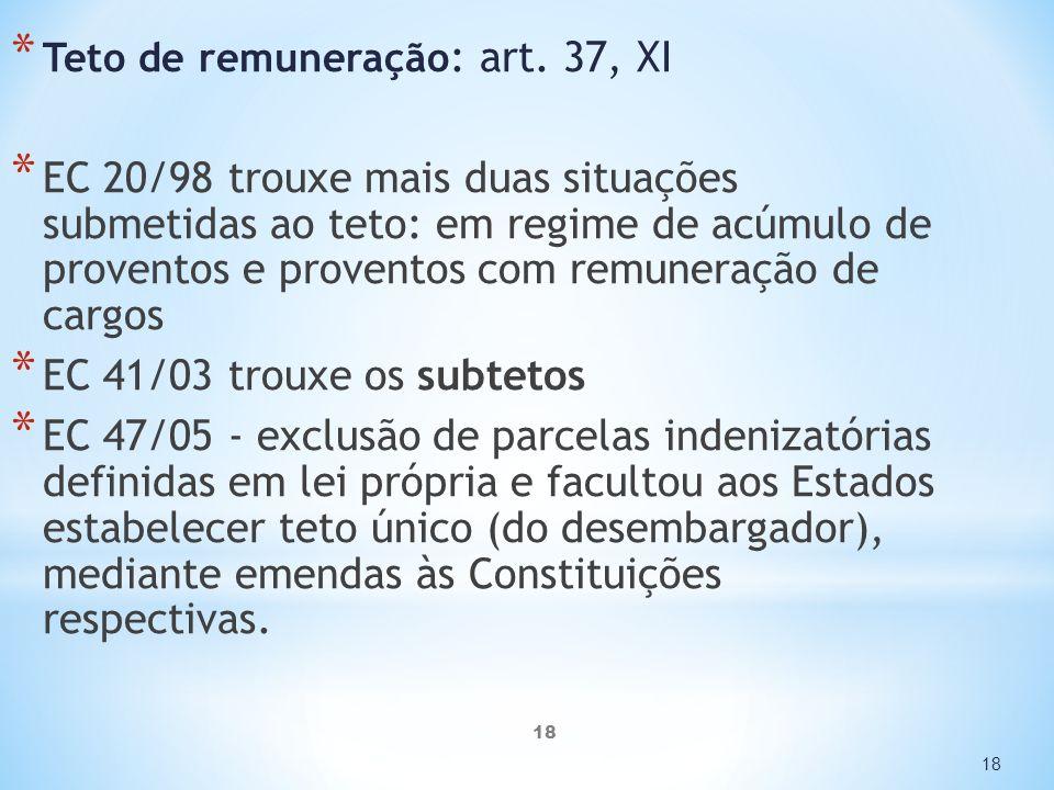 Teto de remuneração: art. 37, XI