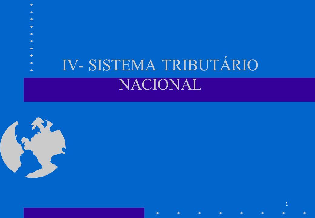 IV- SISTEMA TRIBUTÁRIO NACIONAL
