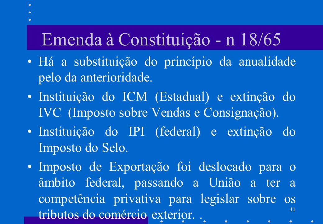Emenda à Constituição - n 18/65
