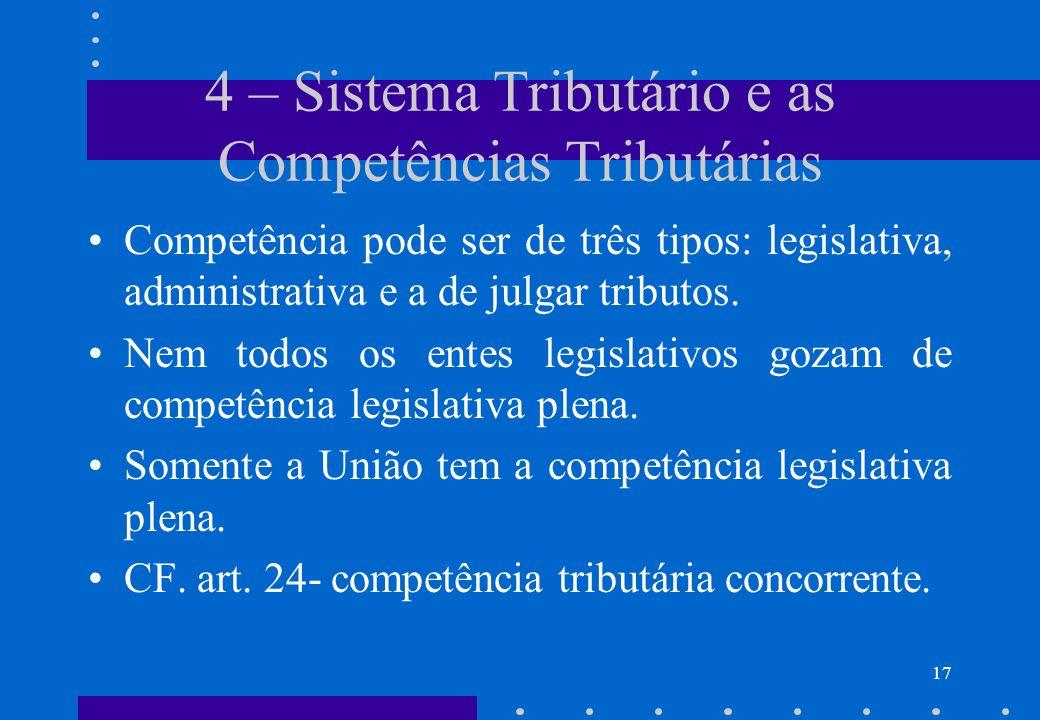 4 – Sistema Tributário e as Competências Tributárias