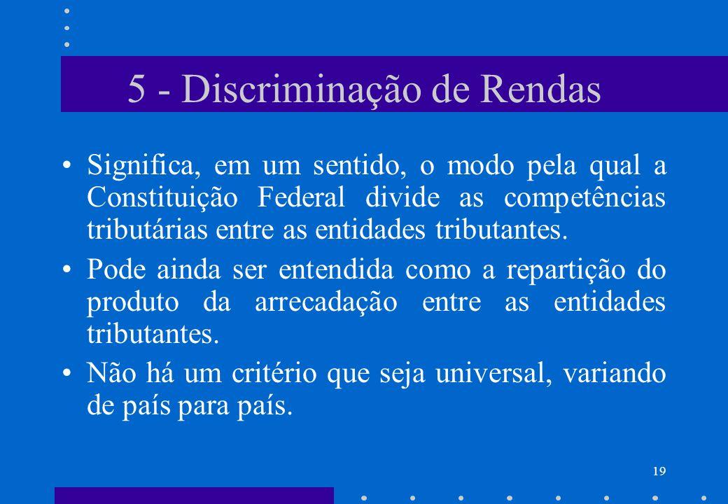 5 - Discriminação de Rendas