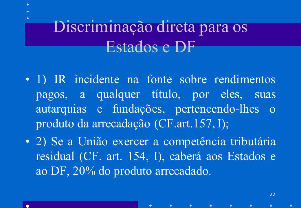 Discriminação direta para os Estados e DF