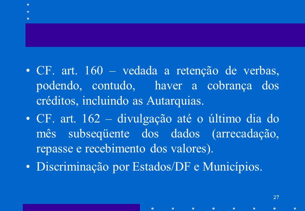CF. art. 160 – vedada a retenção de verbas, podendo, contudo, haver a cobrança dos créditos, incluindo as Autarquias.