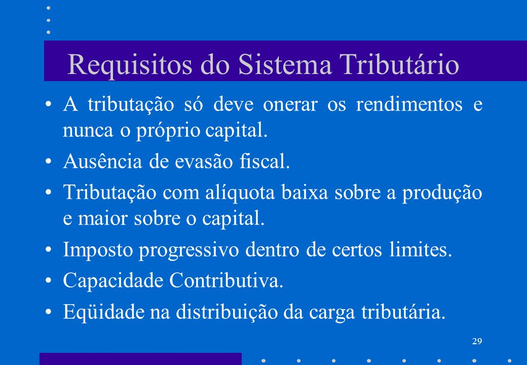 Requisitos do Sistema Tributário