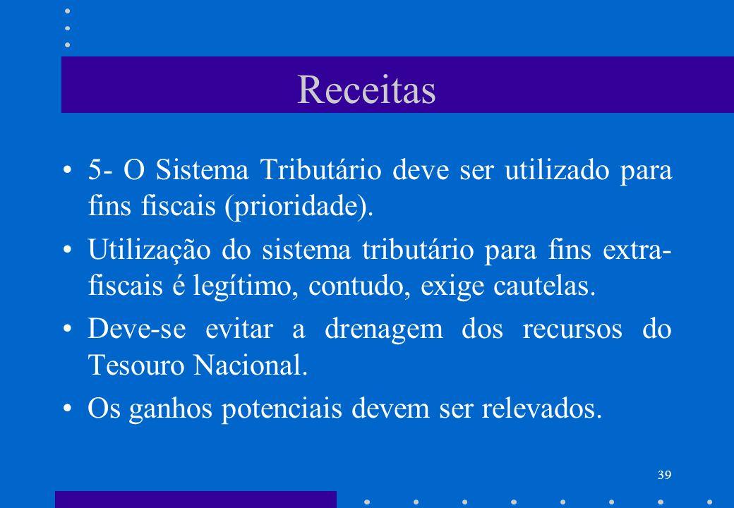 Receitas 5- O Sistema Tributário deve ser utilizado para fins fiscais (prioridade).