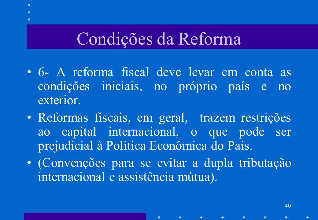 Condições da Reforma 6- A reforma fiscal deve levar em conta as condições iniciais, no próprio país e no exterior.