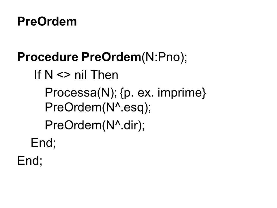 PreOrdem Procedure PreOrdem(N:Pno); If N <> nil Then. Processa(N); {p. ex. imprime} PreOrdem(N^.esq);