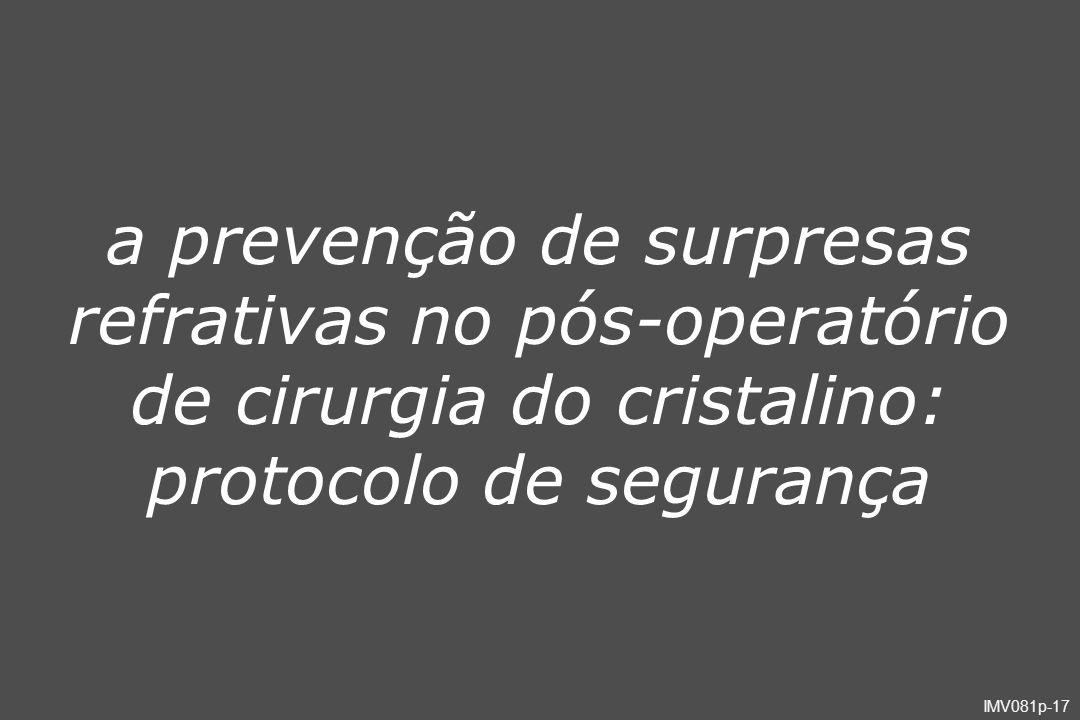 a prevenção de surpresas refrativas no pós-operatório de cirurgia do cristalino: protocolo de segurança
