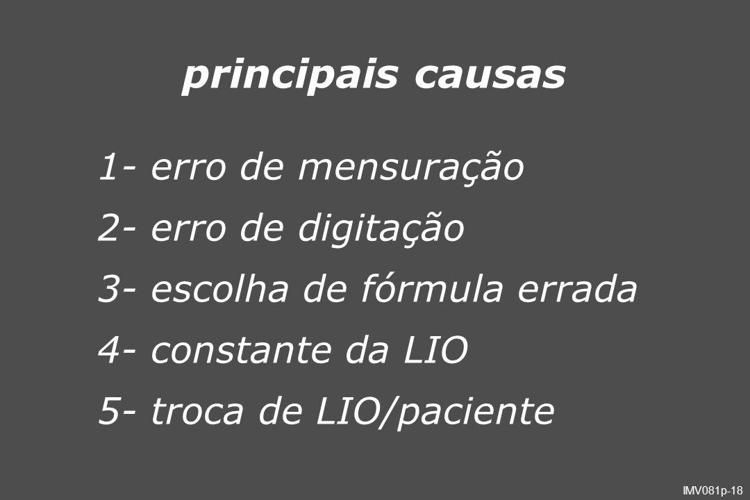 principais causas 1- erro de mensuração 2- erro de digitação