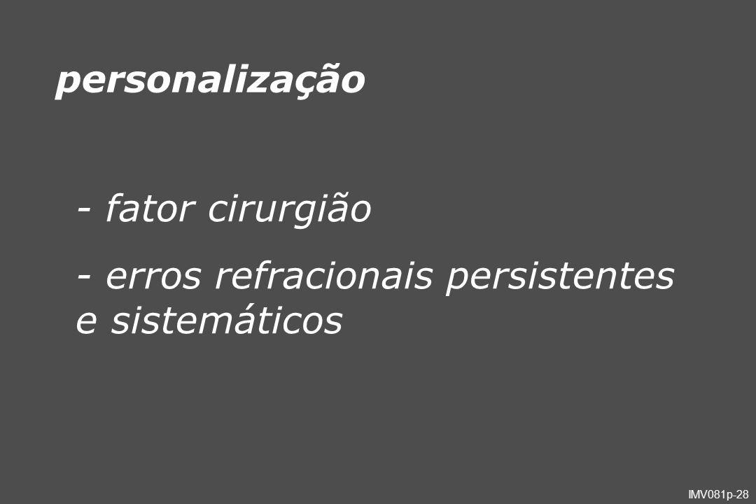 - erros refracionais persistentes e sistemáticos