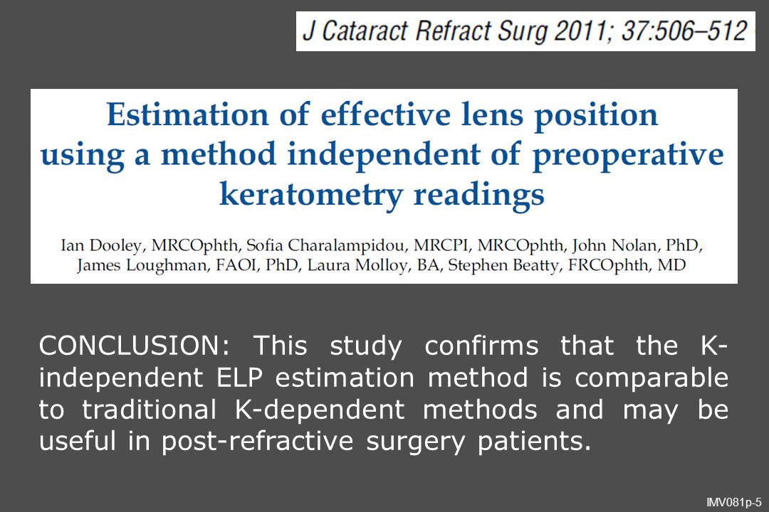 CONCLUSION: This study confirms that the K- independent ELP estimation method is comparable to traditional K-dependent methods and may be useful in post-refractive surgery patients.