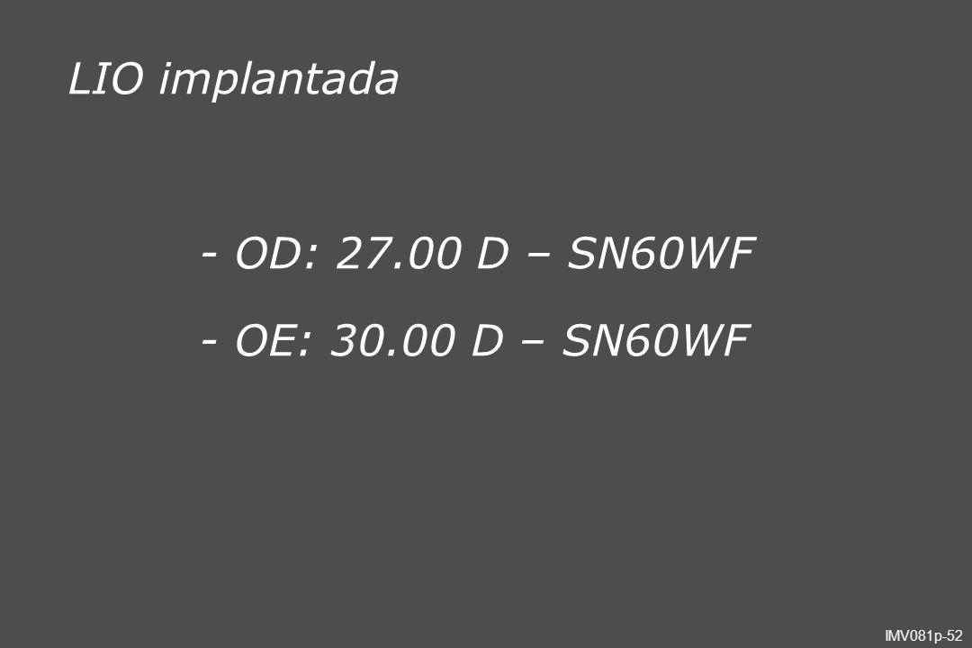 LIO implantada - OD: 27.00 D – SN60WF - OE: 30.00 D – SN60WF