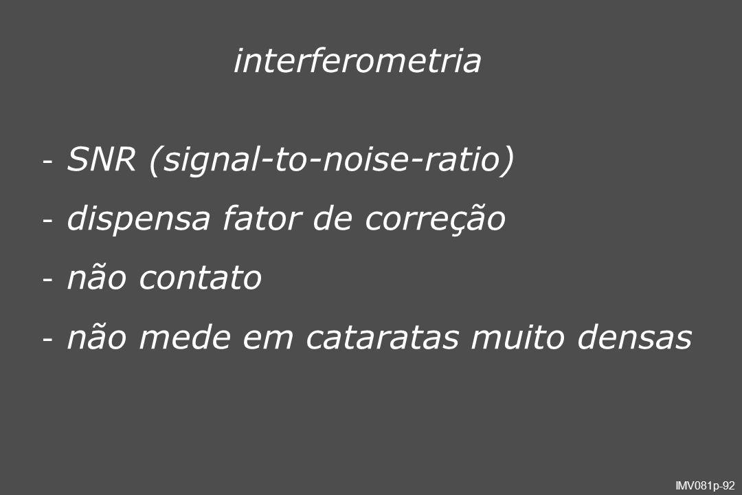 SNR (signal-to-noise-ratio) dispensa fator de correção não contato