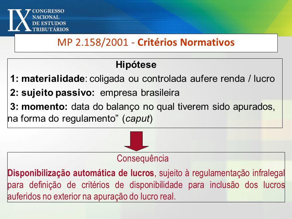 MP 2.158/2001 - Critérios Normativos