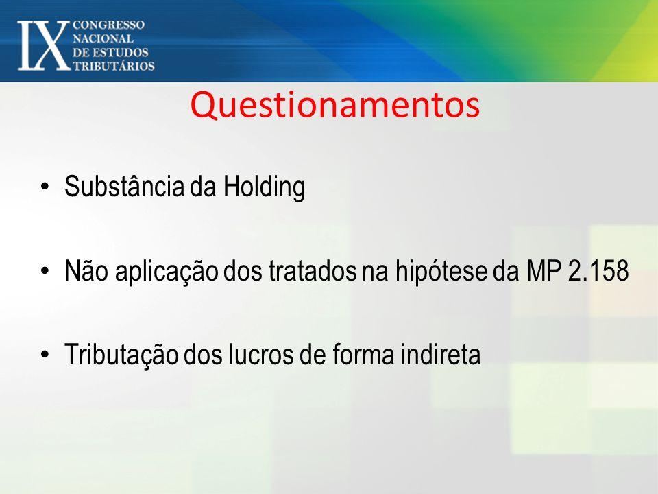 Questionamentos Substância da Holding