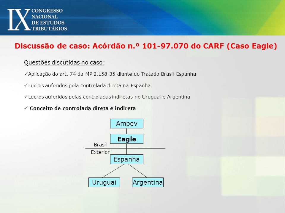 Discussão de caso: Acórdão n.º 101-97.070 do CARF (Caso Eagle)