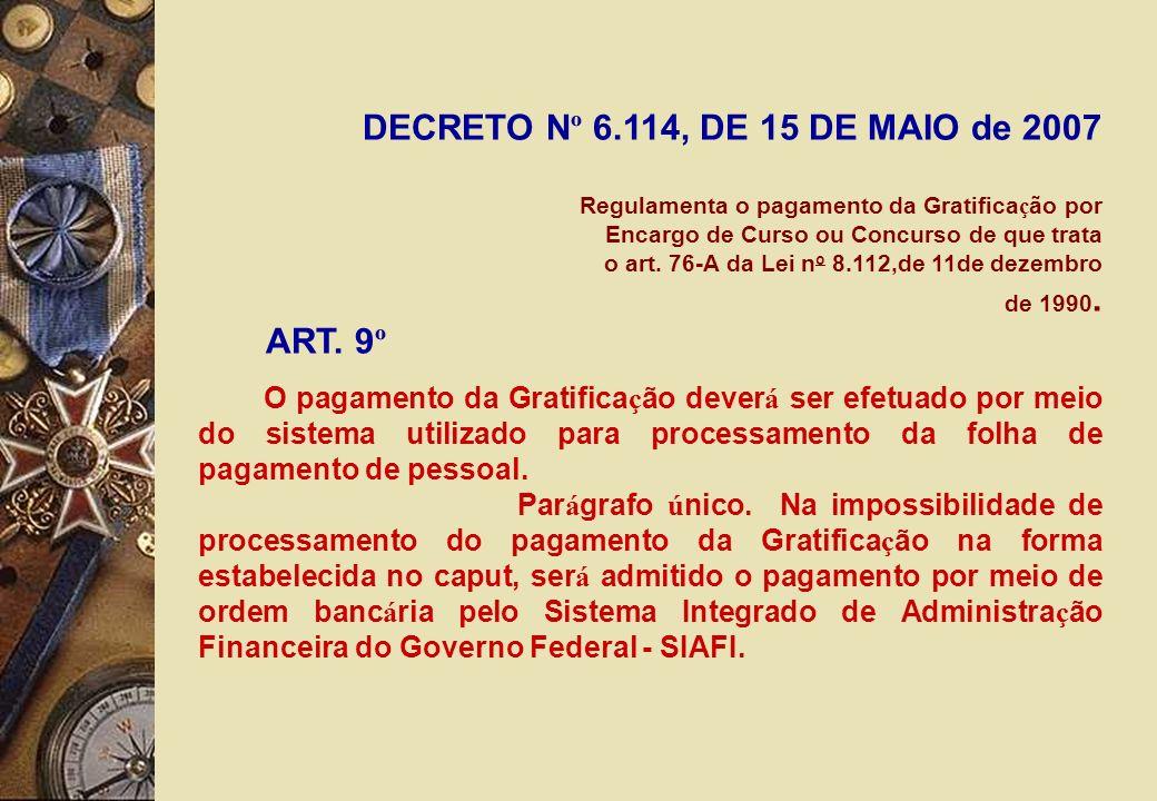DECRETO Nº 6.114, DE 15 DE MAIO de 2007 ART. 9º