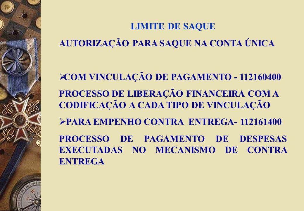 LIMITE DE SAQUE AUTORIZAÇÃO PARA SAQUE NA CONTA ÚNICA. COM VINCULAÇÃO DE PAGAMENTO - 112160400.