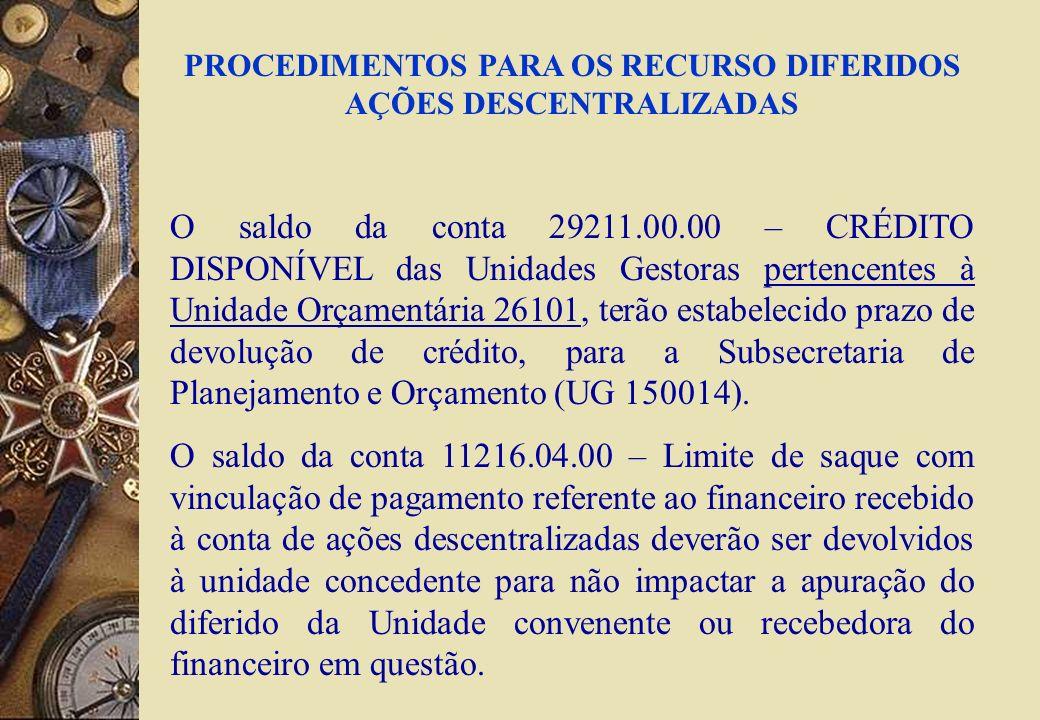 PROCEDIMENTOS PARA OS RECURSO DIFERIDOS AÇÕES DESCENTRALIZADAS