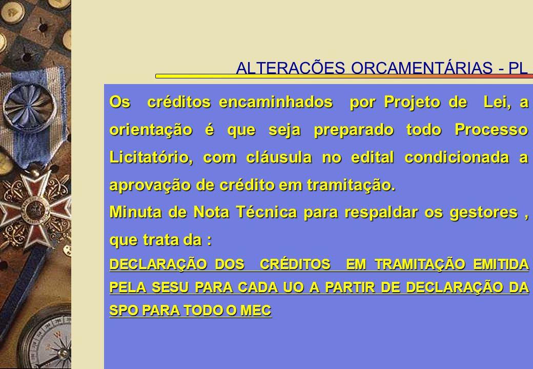 ALTERAÇÕES ORÇAMENTÁRIAS - PL