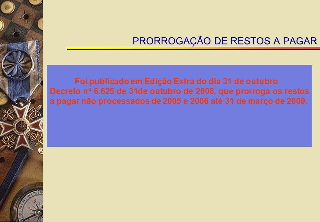 PRORROGAÇÃO DE RESTOS A PAGAR