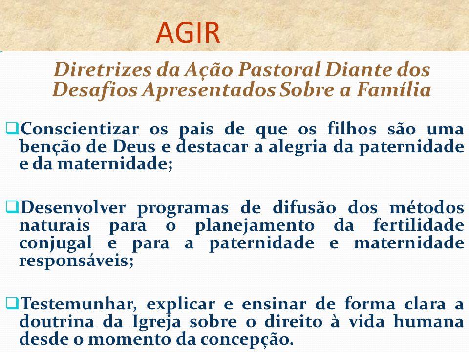 AGIR Diretrizes da Ação Pastoral Diante dos Desafios Apresentados Sobre a Família.