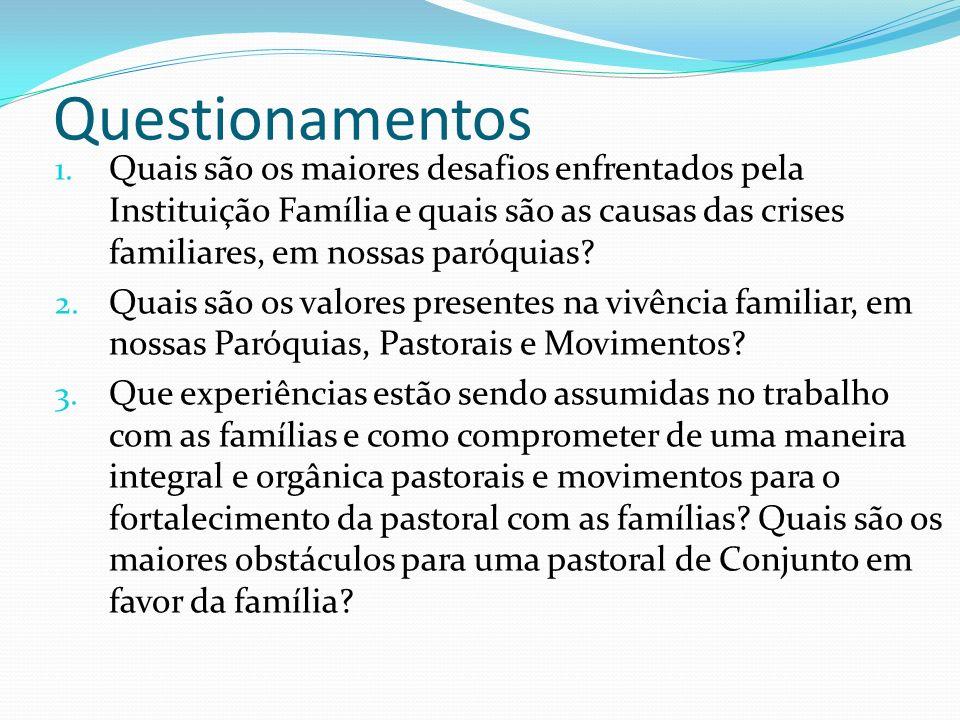 Questionamentos Quais são os maiores desafios enfrentados pela Instituição Família e quais são as causas das crises familiares, em nossas paróquias
