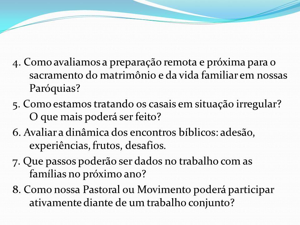 4. Como avaliamos a preparação remota e próxima para o sacramento do matrimônio e da vida familiar em nossas Paróquias