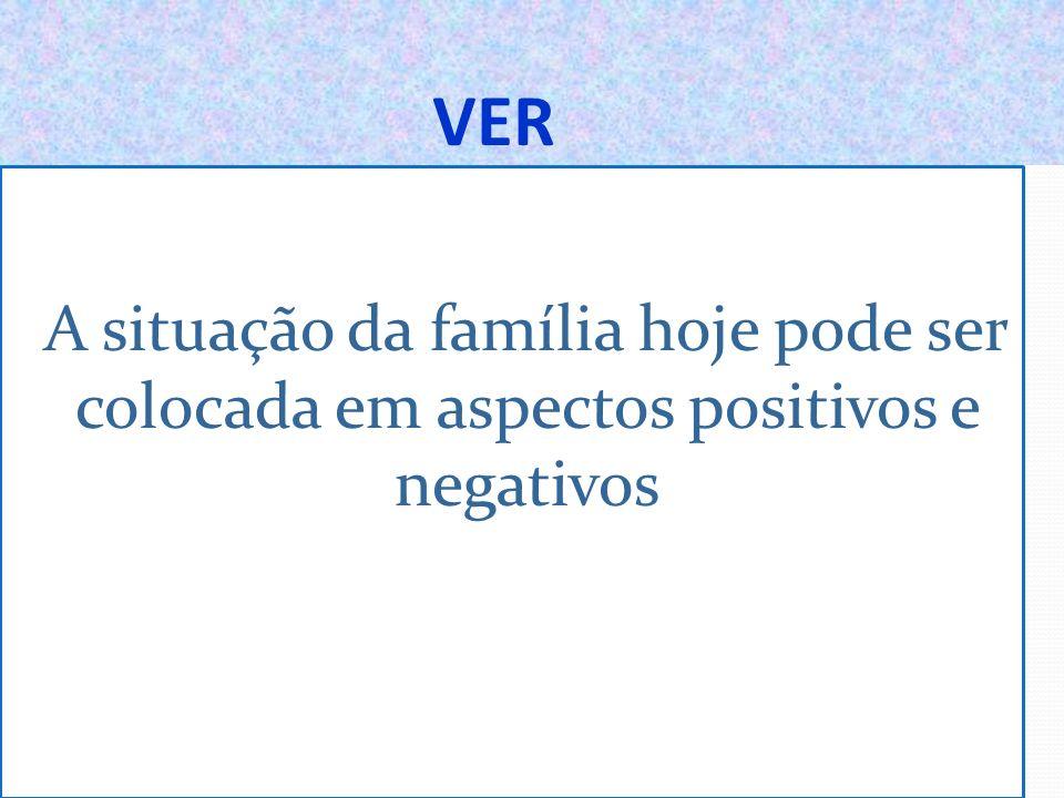 VER A situação da família hoje pode ser colocada em aspectos positivos e negativos