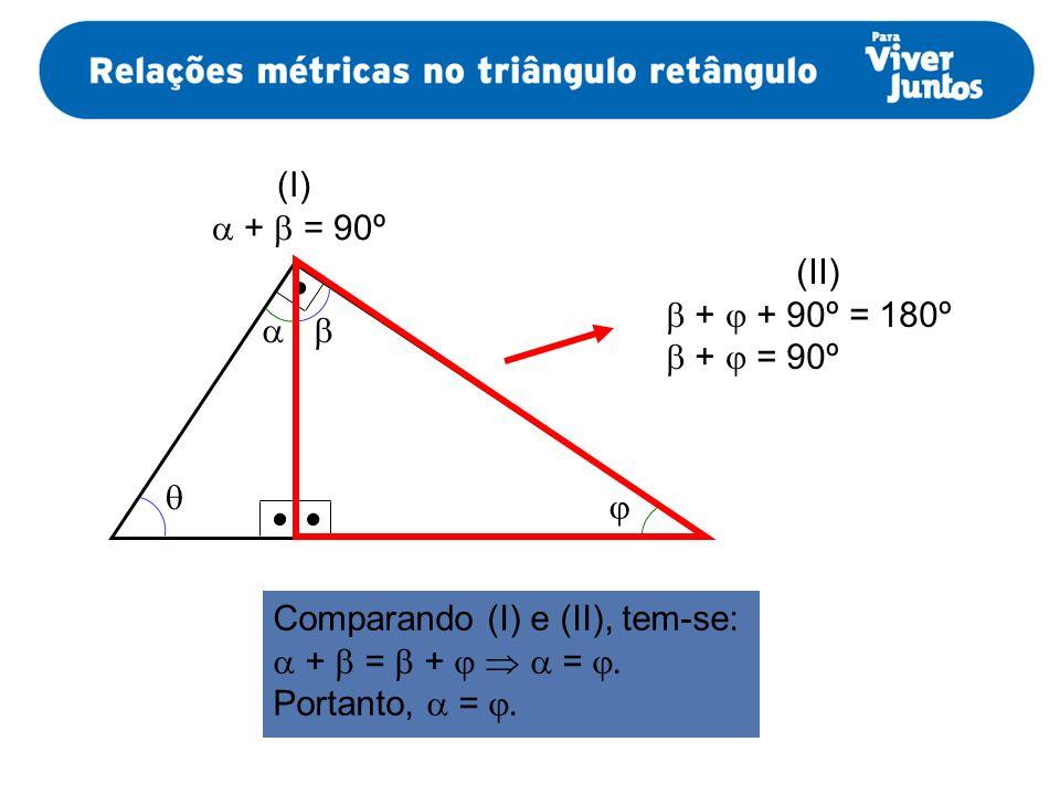 (I)  +  = 90º. (II)  +  + 90º = 180º.  +  = 90º.     Comparando (I) e (II), tem-se: