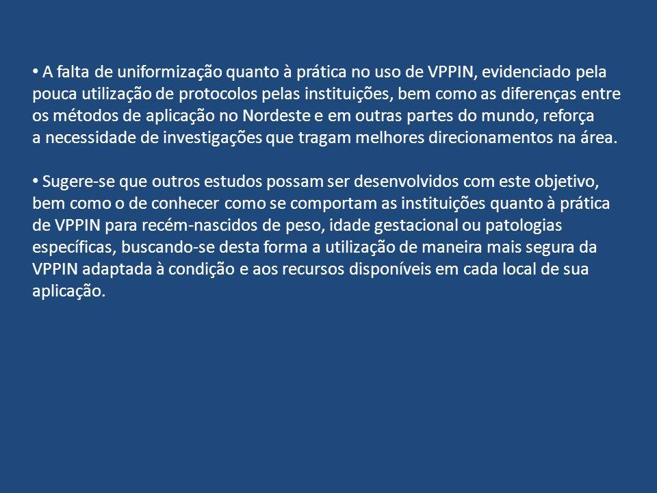 A falta de uniformização quanto à prática no uso de VPPIN, evidenciado pela pouca utilização de protocolos pelas instituições, bem como as diferenças entre os métodos de aplicação no Nordeste e em outras partes do mundo, reforça