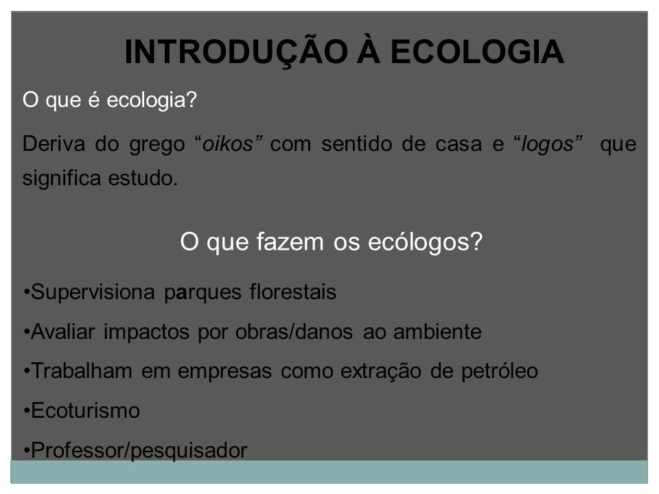 INTRODUÇÃO À ECOLOGIA O que fazem os ecólogos O que é ecologia