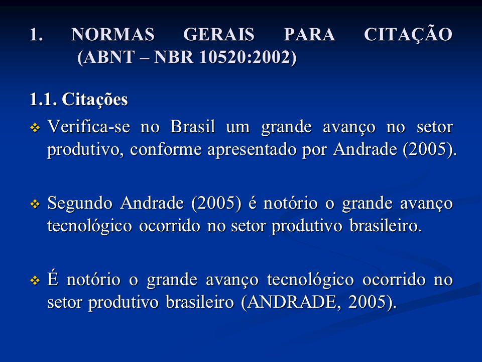 1. NORMAS GERAIS PARA CITAÇÃO (ABNT – NBR 10520:2002)