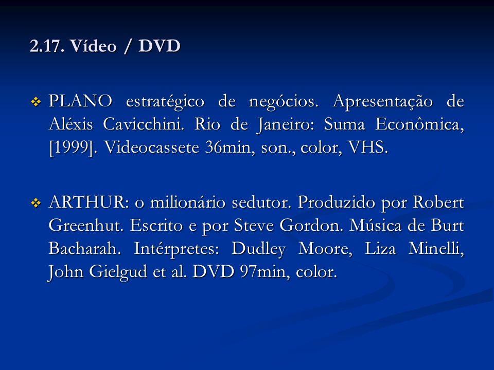 2.17. Vídeo / DVD