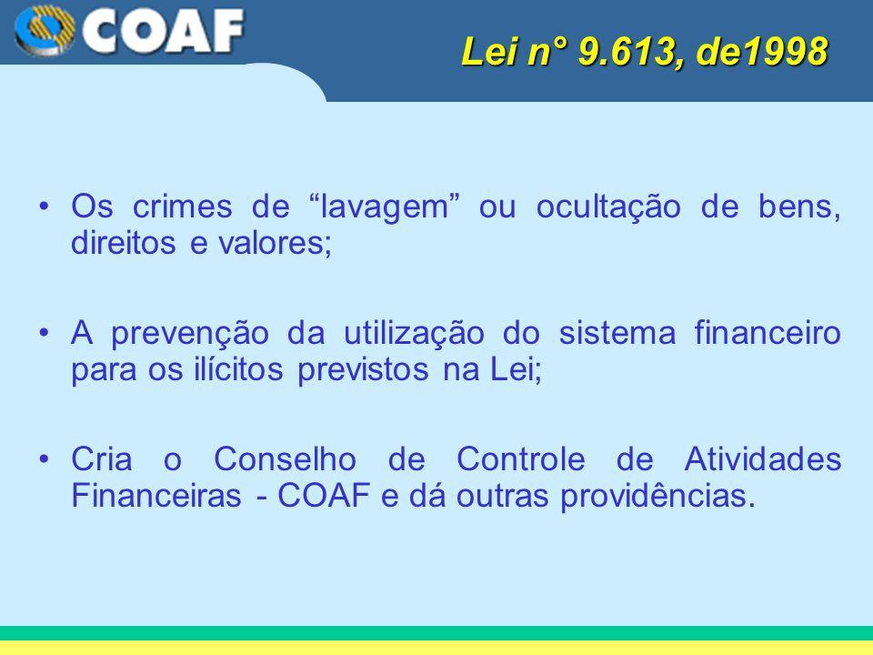 Lei n° 9.613, de1998 Os crimes de lavagem ou ocultação de bens, direitos e valores;
