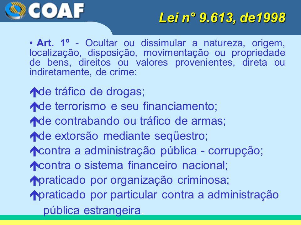 Lei n° 9.613, de1998 pública estrangeira. de tráfico de drogas;
