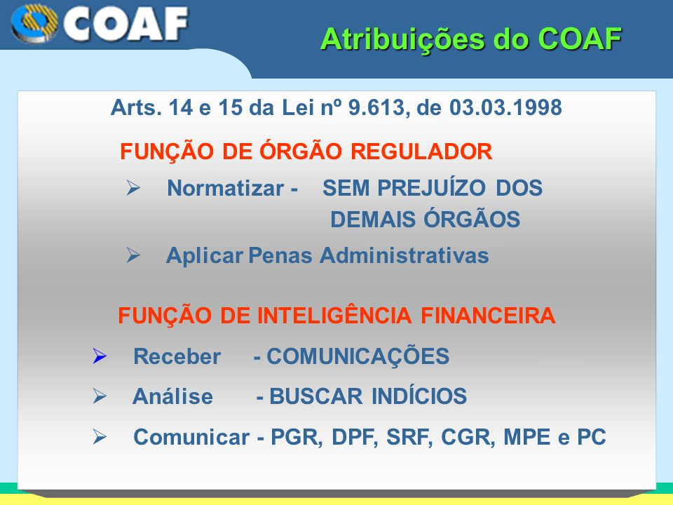FUNÇÃO DE INTELIGÊNCIA FINANCEIRA