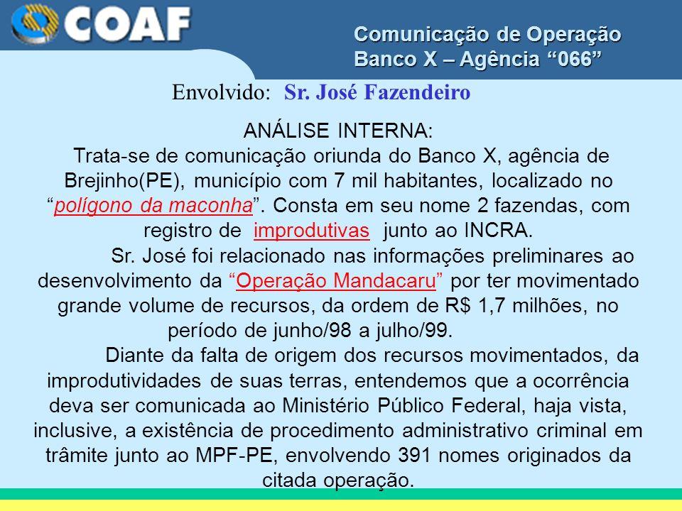 Envolvido: Sr. José Fazendeiro