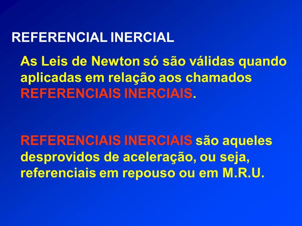 REFERENCIAL INERCIAL As Leis de Newton só são válidas quando aplicadas em relação aos chamados REFERENCIAIS INERCIAIS.